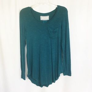 Anthro- Pure Good teal pocket long sleeve top XS